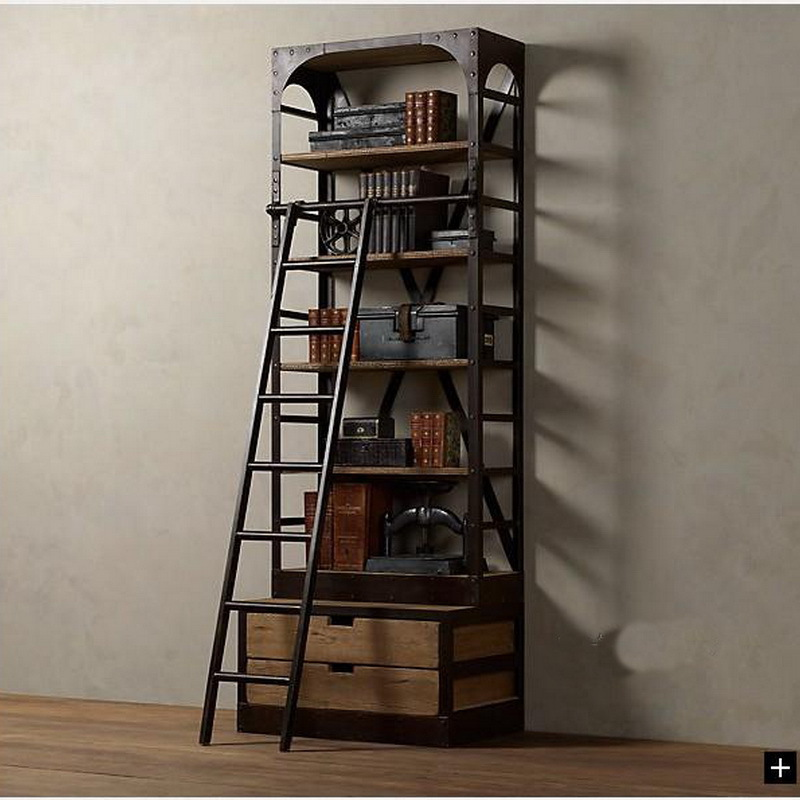 shelves retro bookcase shelving with mount shelf wall wood to regard style separators bookshelf wrought furniture iron bookcases loft rod