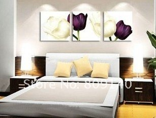 Oil Painting Canvas Modern White Purple Flower Decoration High Quality Hand Painted Home Office Hotel Decor