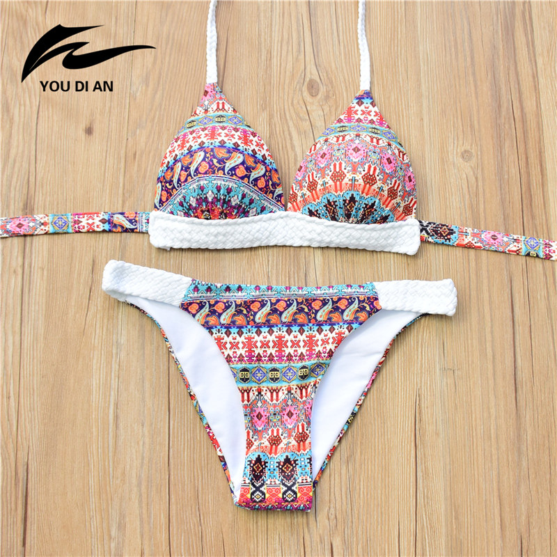 retro national style spandex crochet patchwork bikini set printed women swimsuit beach wear. Black Bedroom Furniture Sets. Home Design Ideas