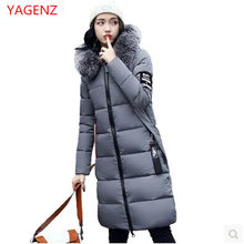 Large size Women Winter long coat NEW Hooded Heavy hair collar Winter coat Thickening Warm Eiderdown cotton Winter jacket K2421(China)