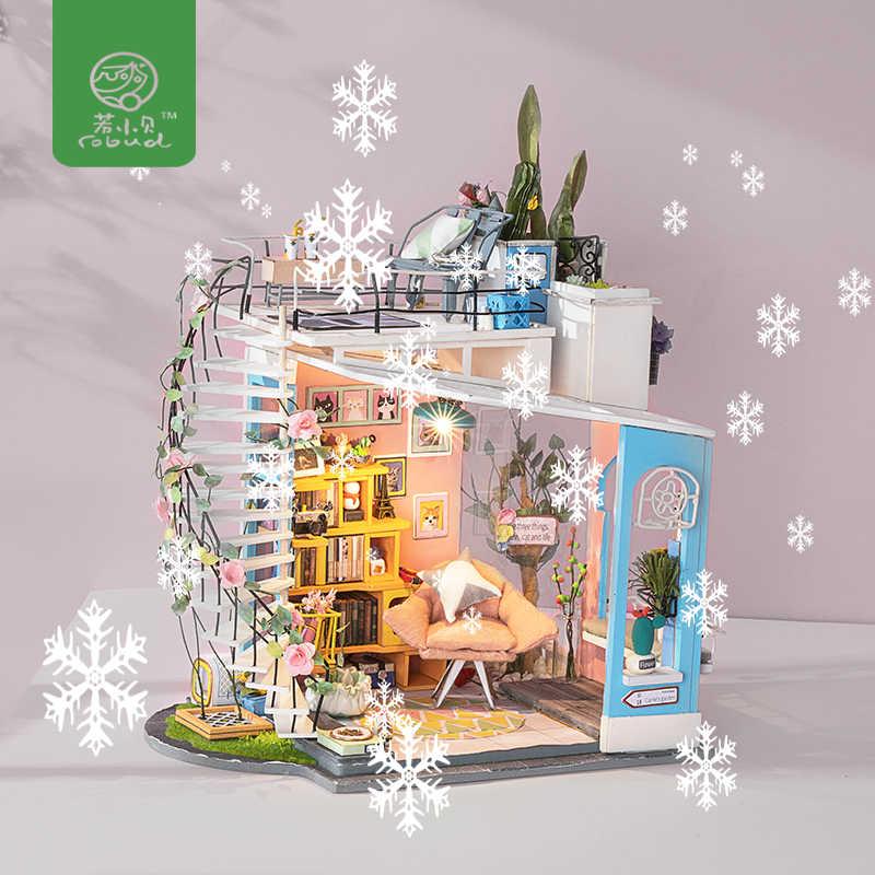 Robud DIY кукольный домик деревянный кукольный домик с кукольным домом мебель Poppenhuis миниатюрные игрушки для детей подарок подруги DG12