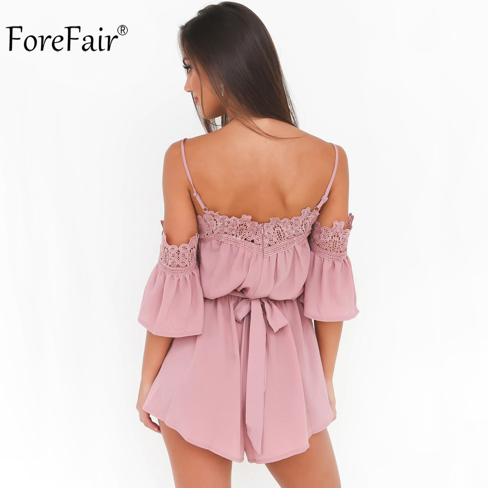 c83b28685b ForeFair Sexy Off Shoulder Flare Sleeve Short Pink White Chiffon Jumpsuit  Women Plus Size Loose Tunic Lace Rompers Playsuits-in Rompers from Women s  ...