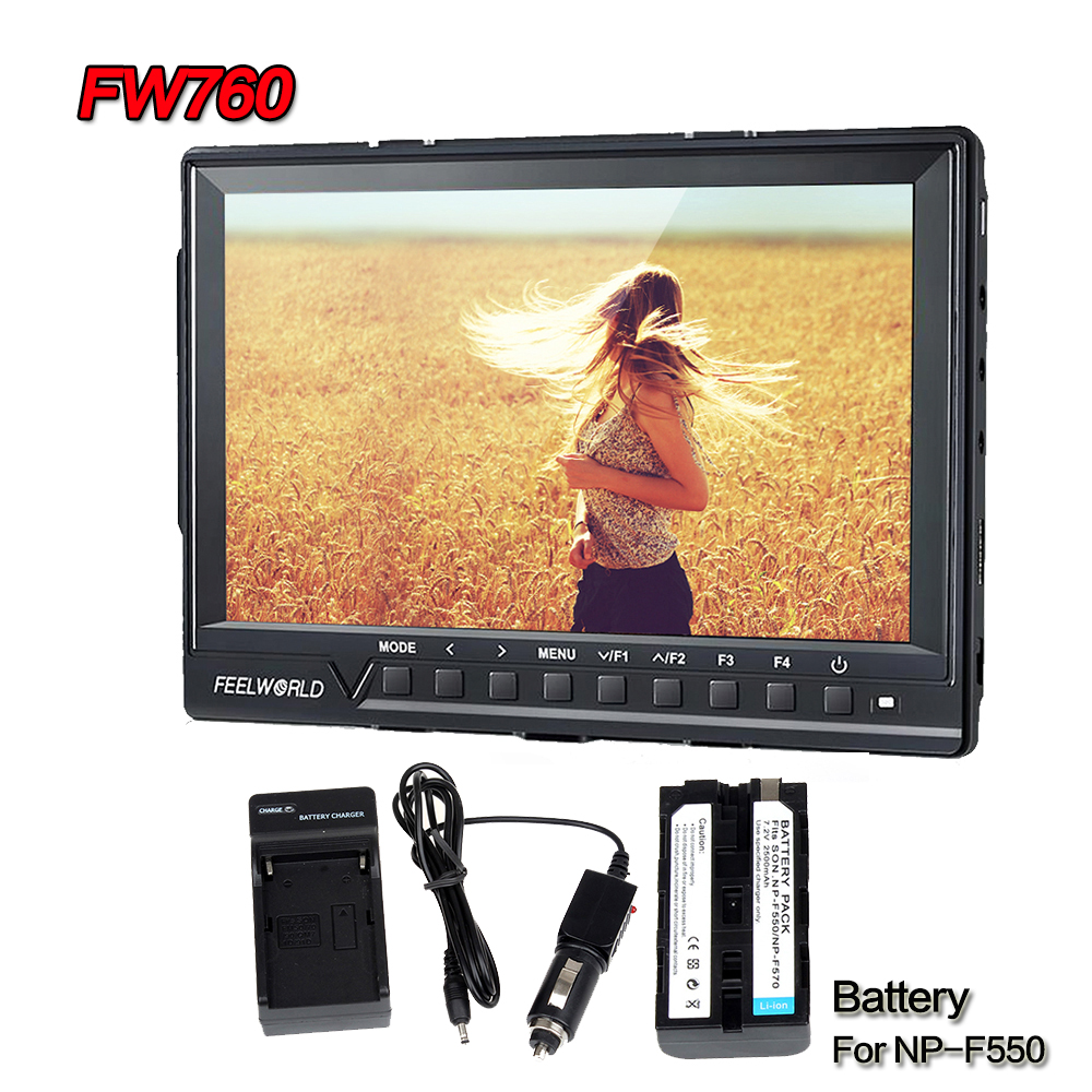Free shipping!Feelworld FW760 Ultra HD 1920x1200 IPS 1080P HDMI Camera Audio Monitor Peaking With 2500mAh Battery Charger set