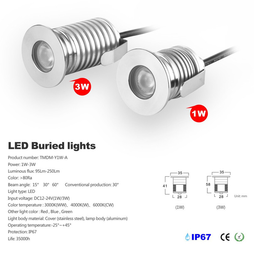 Led Underground Lamps Beautiful High Quality 1w 3w Outdoor Led Underground Light Dc12v/24v Mini Led Inground Buried Lamps Warm Cool White For Deck Floor Stairs Promoting Health And Curing Diseases Led Lamps