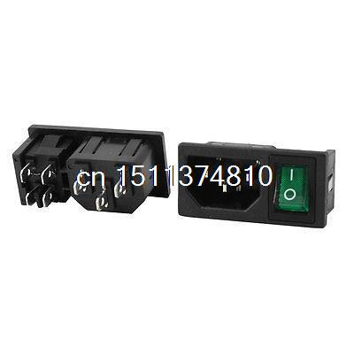 2Pcs IEC 320 C14 Inlet Socket w Fuse w Green Light DPST Rocker Switch AC250V 10A ac 250v 10a iec 320 c13 c14 inlet panel power socket w fuse holder