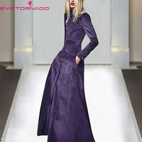 2019 Women Autumn Vintage Trench Fashion Long Purple Elegant Trench Stand Collar Slim Work Classic Trench Corduroy Coats E6751
