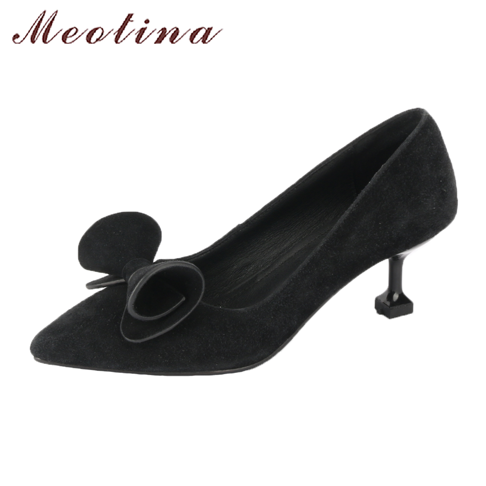 Meotina Genuine Leather Suede Shoes Women Pumps Hoof High Heels Sexy Shoes Black Bow-knot Slip On Party Shoes Big Size 9 42 43 meotina genuine leather women shoes female plaid party shoes block heel bow strap high heels kid suede ladies pumps 2018 spring