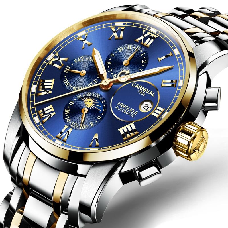 Switzerland Carnival Sapphire reloj hombre Watch Men Brand Luxury Multi-function Men Watches Luminous relogio clock C8008G-4 цена