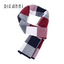 Difanni 2017 Hot winter luxury Brand Big Size plaid scarf Men Long Neck Warm Cashmere Scarves Bufanda Wool scarf Knitting
