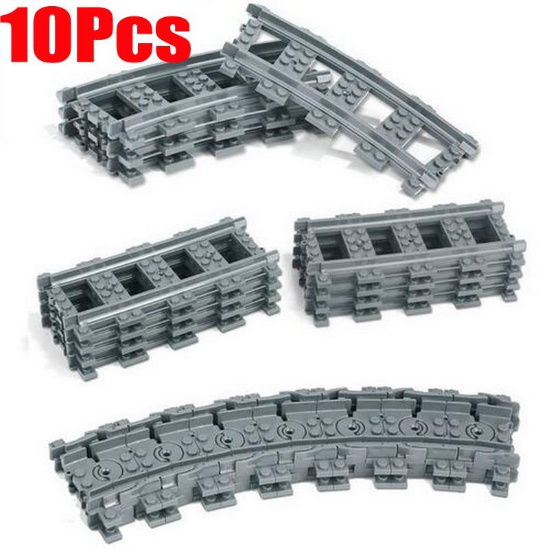 10Pcs/Lot City Train Track Rail Straight Rails Curved Rails Figure Blocks Construction Toys For Children Compatible Legoe