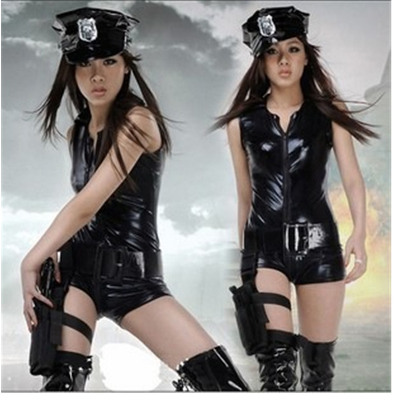 New Faux Leather Policewoman Uniform Temptation Police Party Costume Sexy Female Cop Uniform Sexy Ladies Police Cosplay Costume