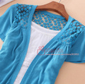 2017 New Free shipping  Summer Women Lace Sweet Candy 9 Color Crochet hollow out short sleeve  Knitwear Blouse Sweater Cardigan