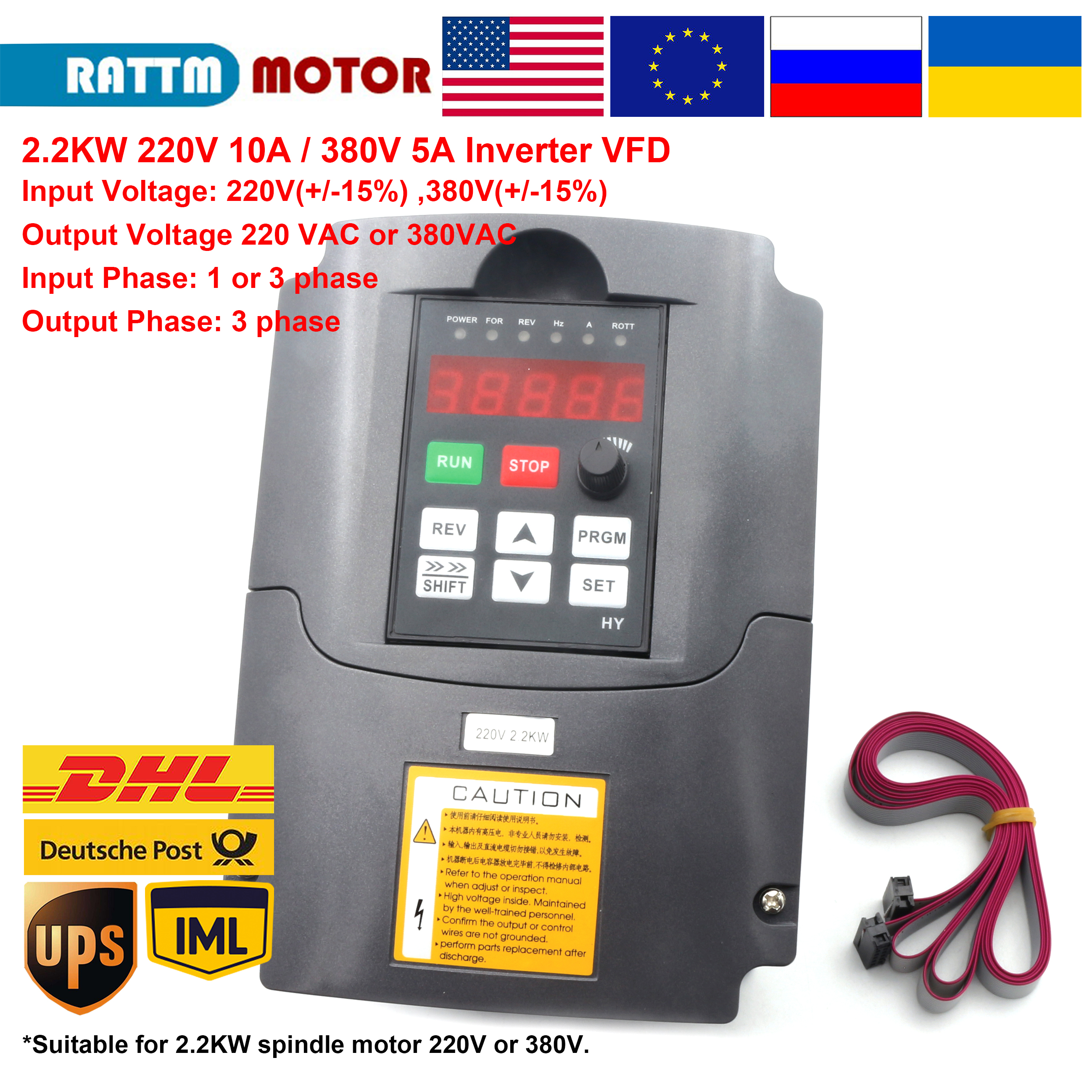 <font><b>220V</b></font> or 380V 2.2KW VFD <font><b>inverter</b></font> Variable Frequency <font><b>1</b></font> <font><b>Phase</b></font> or <font><b>3</b></font> <font><b>phase</b></font> Input 3HP Output with 2m cable cnc motor speed control image