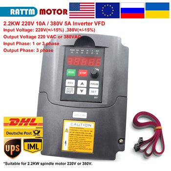 цена на 220V or 380V 2.2KW VFD inverter Variable Frequency 1 Phase or 3 phase Input 3HP Output with 2m cable cnc motor speed control
