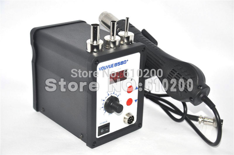 Free shipping 858D ESD Soldering Station Hot air rework station LED Digital Hot Air Gun 220V 700W + 3 Nozzle AT858D saike 8586D saike 8586d 2 in 1 hot air soldering station desoldering smd rework station hot gun soldering iron 220v 700w