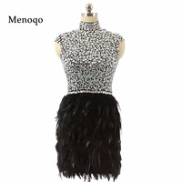 Hot sale 2018 Real Photo Black High neck Cap sleeve fully beaded crystal peacock short feather homecoming dresses