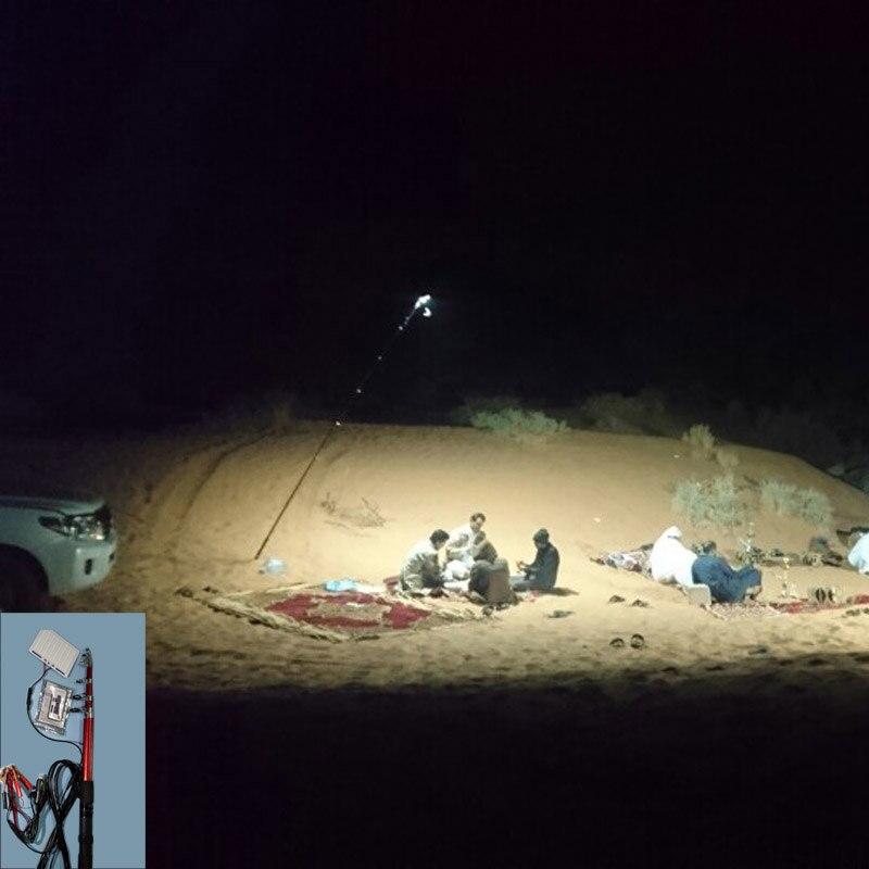 12V LED Camping Lights 3.75 Meters Telescopic Fishing Pole Outdoor Battery Light Fishing Rod Light White