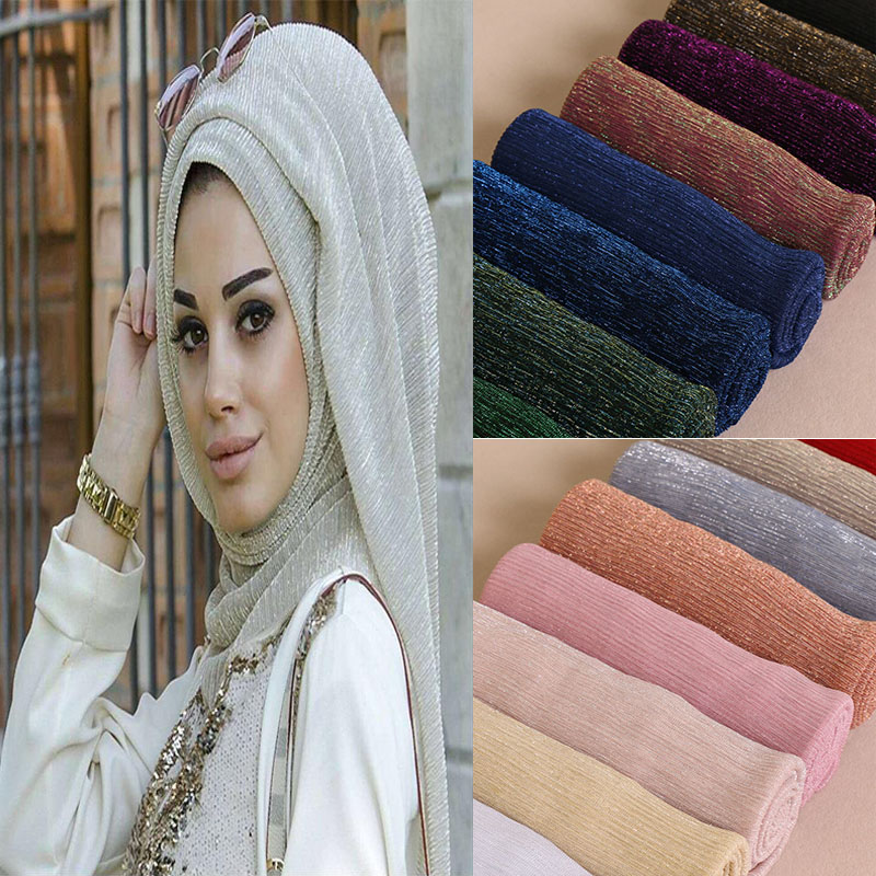 2019 New Lurex Glitter Shimmer Pleated Scarf Crinkle Muslim Hijab Shawl Women Plain Wrinkled Maxi Headscarf Shawls 26 Color
