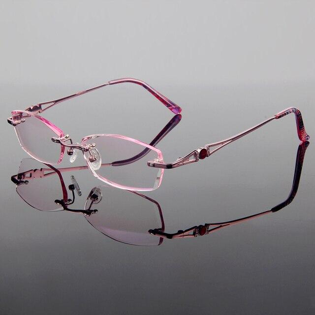 Новый Изящные Роскошные Титанового Сплава Оптические Frame Женщины Стиль Алмаз Обрезки Вырезать Без Оправы Очки С Градиентом Оттенок Линзы