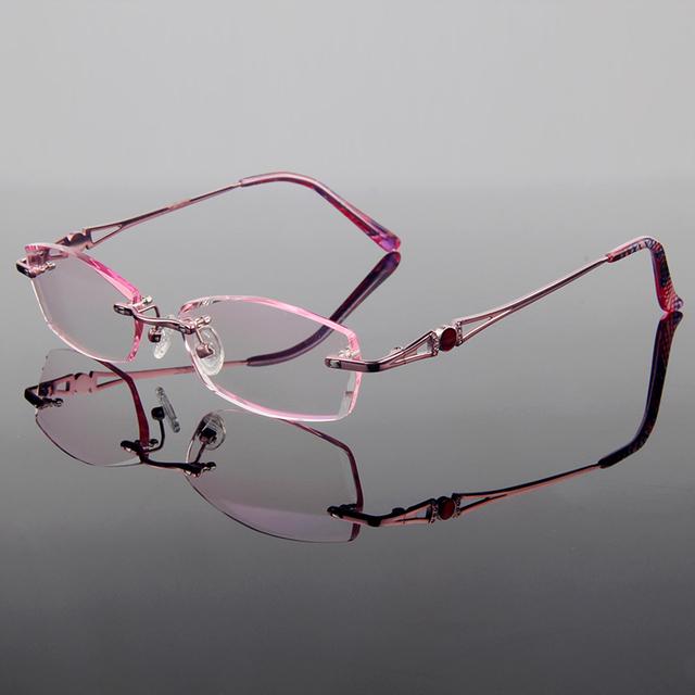 Novo Luxo Graciosa Liga de Titânio Óculos Sem Aro Frame Ótico Mulheres Estilo Diamante de Corte Cut Com Lentes Gradiente Matiz