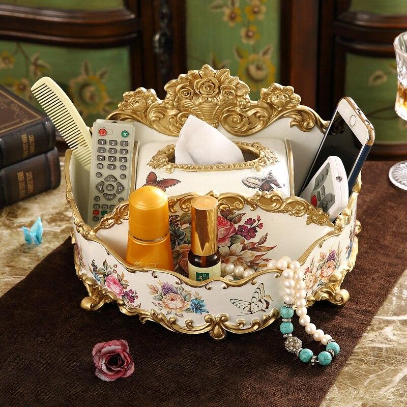 Boîte à mouchoirs américaine de luxe rétro ornement Europe Bar maison multi-fonction clé bijoux boîte de rangement cadeau de mariage résine artisanat décor