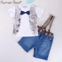 유머 곰 어린이 의류 세트 아기 소년 Bowknot 셔츠 + 스트랩 진 정장 세트 소년 옷 아기 의류 의류 세트