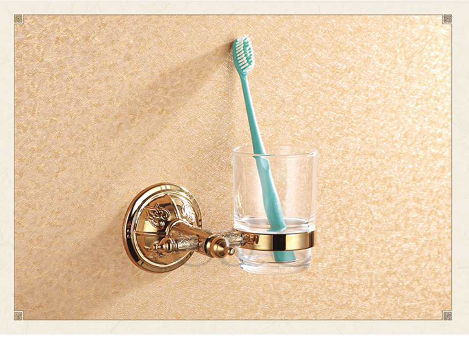 ФОТО Noble And Elegant Solid Brass And Glass Gold Plating Bathroom Tumbler Cup Holder 1209