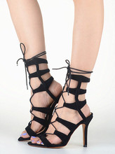 2016 Newest kim kardashian inspired heels Shoes ss14 suede strappy sandals Lace up woman shoes high heels sandalias scarpe donna