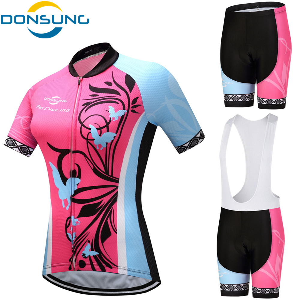 DONSUNG Short Sleeve Cycling Jersey Set Breathable Sportwear For Women Pro MTB Bike Bicycle Summer Outdoor Cycling BIB Clothing