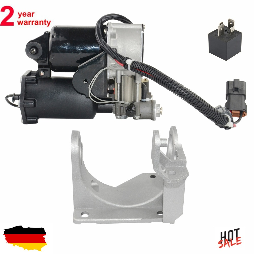 New Air Ride Air Compressor Pump + Mounting Bracket For Land Rover Discovery 3 Range Rover LR3 LR4 Sport Hitachi Type sale differential dpf intake air pressure sensor for rover discovery 3 4 range rover sport iii lm 6g9n5l200aa 6g9n5l200ab