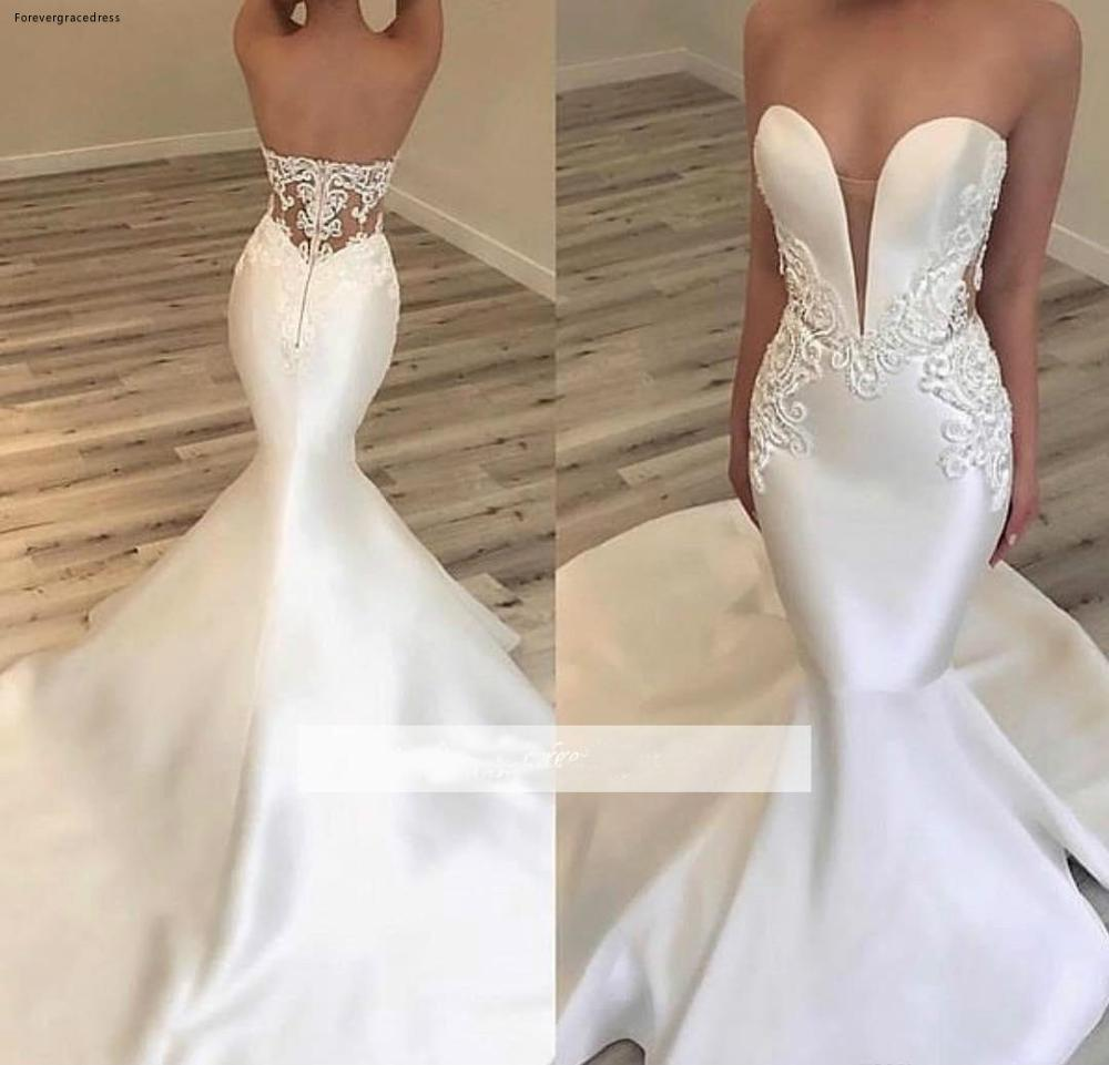 New Arrival Mermaid Wedding Dress Satin Lace Appliques Garden Country Church Bride Bridal Gown Custom Made Plus Size