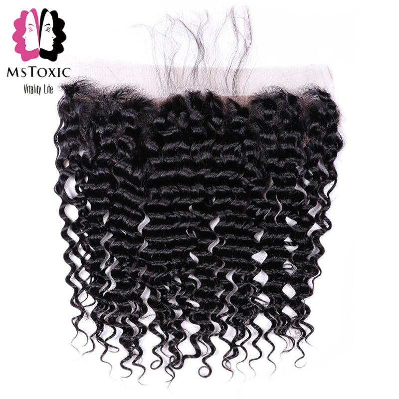 MsToxic Pre Plucked Brazilian Deep Wave Frontal Closure NonRemy Human Hair Frontal 13x4 Lace Frontal Closure With Baby Hair(China)
