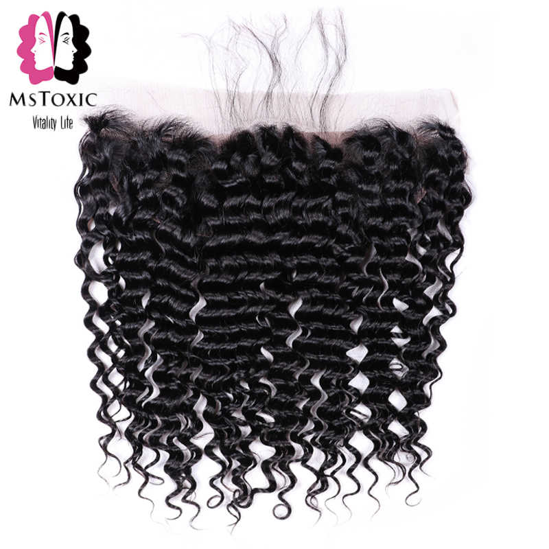 MsToxic Pre Plucked Deep Wave Frontal Closure Remy Brazilian Human Hair Frontal 13x4 Lace Frontal Closure With Baby Hair