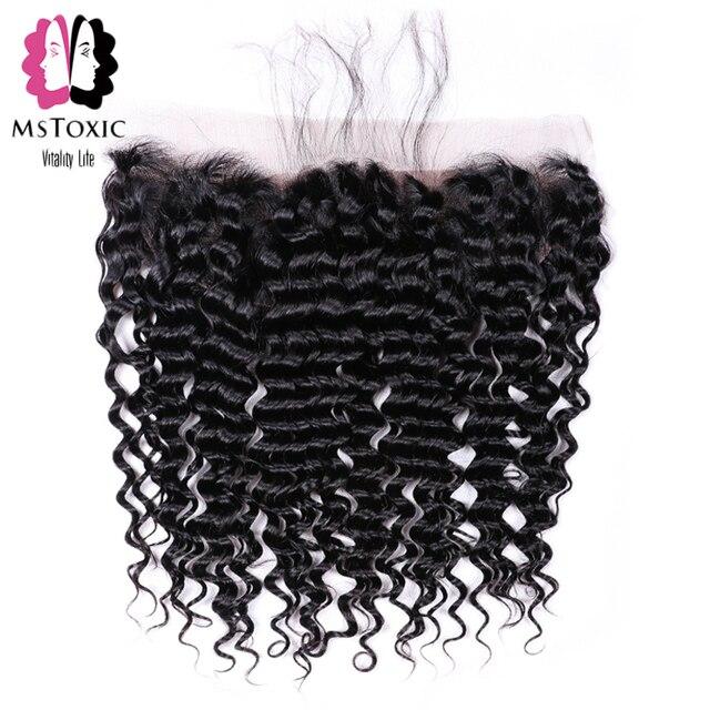 MsToxic Pre desplumado brasileño de onda profunda cierre Frontal no Remy cabello humano Frontal 13x4 cierre Frontal de encaje con bebé pelo