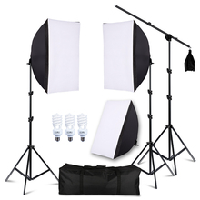 Photography Studio Lighting Soft box with bulbs Single socket 45W Light Daylight Bulbs 200cm Light Stand and Carry Case 3 x 150w studio fresnel tungsten light fixture with dimmer control spotlight video light kit lighting with carry case and stand