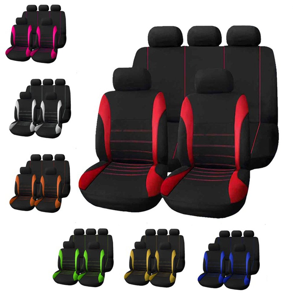 New 9pcs/Set Car Seat Cover Comfortable Dustproof Seat Protectors Pad Cover Universal Full Seat Covers For Vehicle Cars