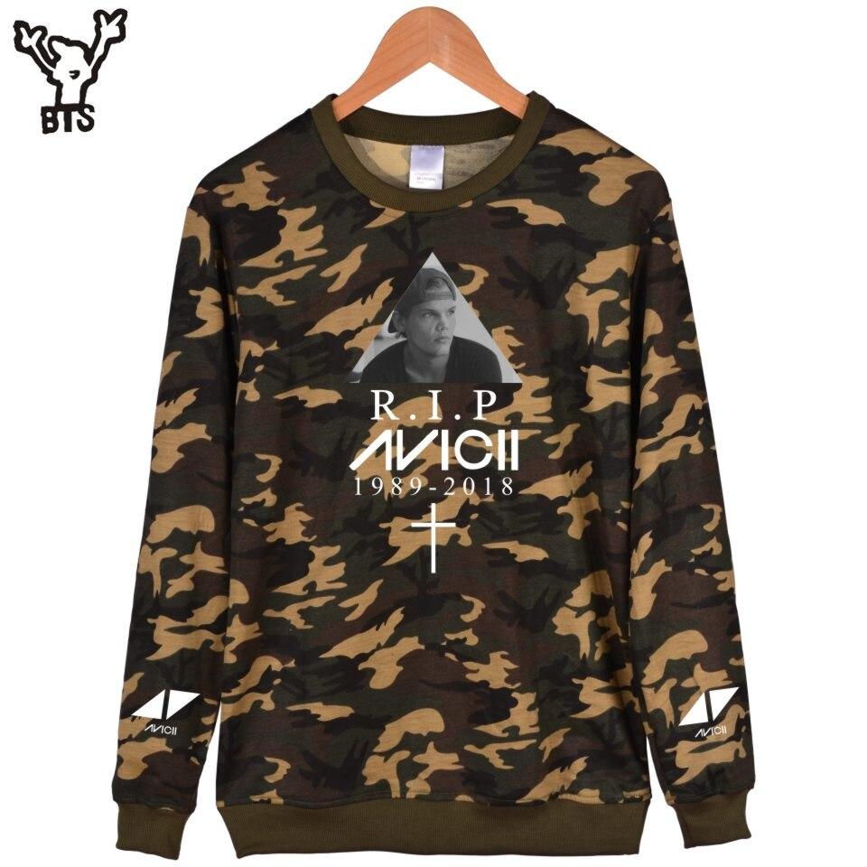 BTS R.I.P Avicii Men Cool Camouflage Women Hip Pop Fashion Design Autumn Hoodies Print Harajuku Hip Pop Fashion Spring Capless