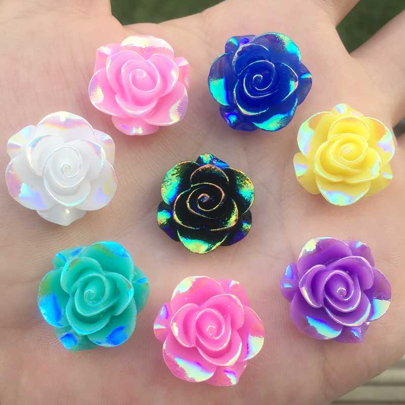 New Fashion Style Rose Flower AB Resin Flatback 19mm Clothes//Bag Decor Craft DIY