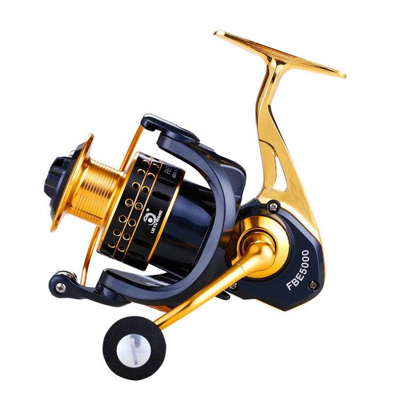 YUYU Full Metal Fishing Reel Spining 13+1BB 1000 - 6000 Series Gold Spinning Reel fishing Metal pesca with spare spool