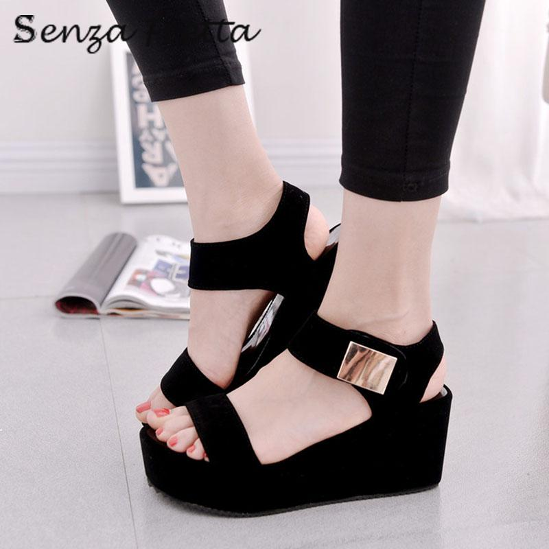 Senza Fretta Shoes Women Sandals High Heel Wedges Sandals Platform Sandals Fashion Summer Shoes Women Casual Shoes LDD0116 phyanic 2017 gladiator sandals gold silver shoes woman summer platform wedges glitters creepers casual women shoes phy3323