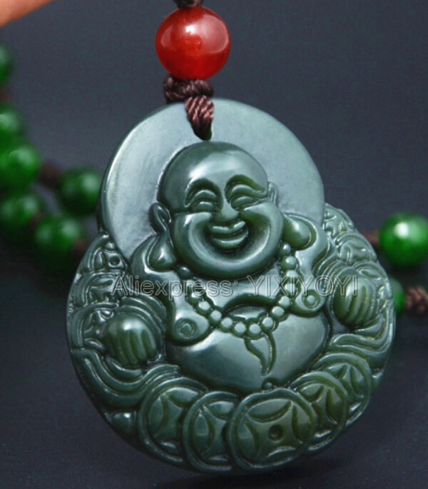 Natural Black Green Jade Carved Lotus GuanYin Lucky Pendant Jewellery & Watches Necklaces & Pendants Rope Necklace