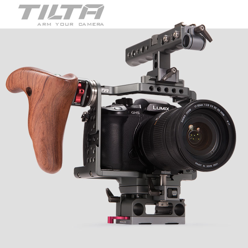 TILTA ES-T37 ES-T37-A Rig for Panasonic GH4 GH5 Camera 6K rig Cage support 15mm rod Baseplate Wooden handle trigger Free ship цены