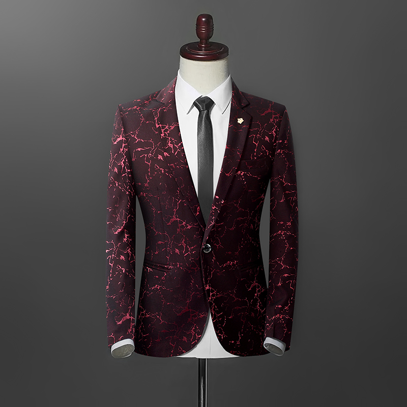 Blazers men 39 s 2019 new high end custom blazer business casual luxury gilding print wedding banquet clothing jacket in Blazers from Men 39 s Clothing