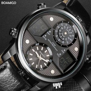 Image 2 - BOAMIGO גברים קוורץ שעונים 3 אזור זמן creative LED דיגיטלי ספורט שעונים זכר עור שעוני יד גבר שעון Relogio Masculino