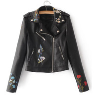Faux Leather Bomber Jacket 2017 New Fashion Women Autumn Winter Female Floral Embroidered Short Jaqueta feminina Outwear Clothes