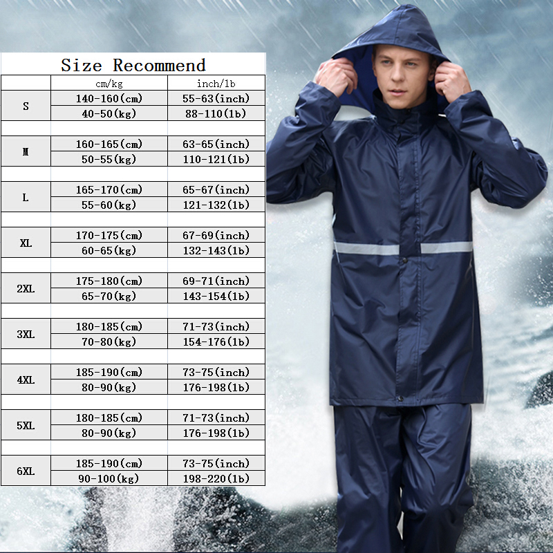 Rainfreem Raincoat Suit Impermeable Women/Men Hooded Motorcycle Poncho Motorcycle Rainwear S-6XL Hiking Fishing Rain Gear 5