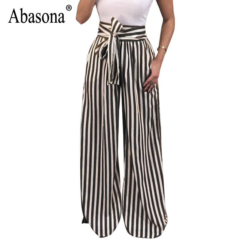 Abasona Women Striped   Pants   Women Bow Sashes   Wide     Leg     Pants   Casual Office Ladies Work Wear High Waist   Pant   Female Trousers