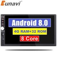 Eunavi 2 Din 7 ''Восьмиядерный Универсальный Android 8,0 4 Гб ram автомобильный Радио Стерео gps навигация WiFi 1024*600 сенсорный экран 2din автомобильный ПК