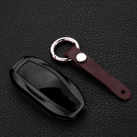Aluminum Alloy Leather Car Key Cover Case For Tesla Model S Smart Key Chain Ring Car