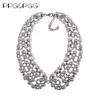 PPG PGG 2017 Winter Design Za Brand Fashion Imitation Pearls Collar Necklace Women Chunky Choker Bib